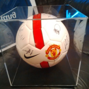 Authenticated Signed by First Team and Boxed First Man United Football